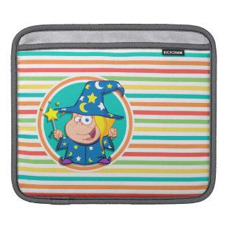 Kid Wizard on Bright Rainbow Stripes iPad Sleeve
