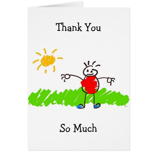 Kiddie art thank you so much greeting cards