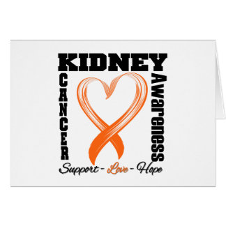 Kidney Cancer Awareness Brushed Heart Ribbon v1 Greeting Card