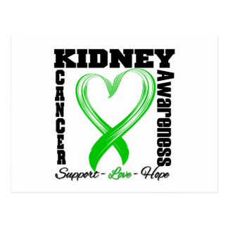 Kidney Cancer Awareness Brushed Heart Ribbon v2 Postcards