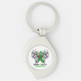 Kidney Cancer Awareness Butterfly Silver-Colored Swirl Metal Keychain