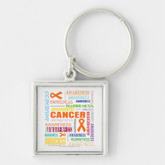 Kidney Cancer Awareness Collage Silver-Colored Square Key Ring