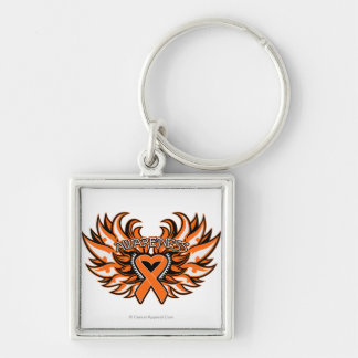 Kidney Cancer Awareness Heart Wings 2.png Silver-Colored Square Key Ring
