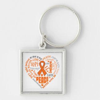 Kidney Cancer Awareness Heart Words Keychains