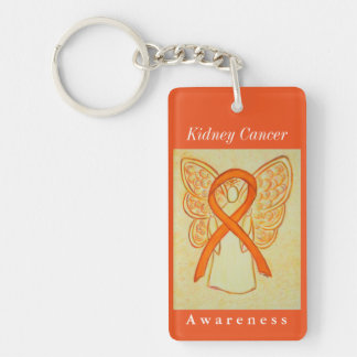 Kidney Cancer Awareness Ribbon Angel Keychain