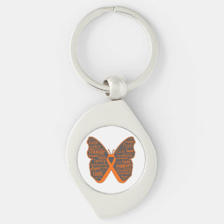 Kidney Cancer Butterfly Collage of Words Key Chains