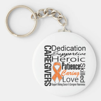 Kidney Cancer Caregivers Collage v1 Basic Round Button Key Ring