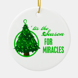 Kidney Cancer Christmas Miracles Round Ceramic Decoration
