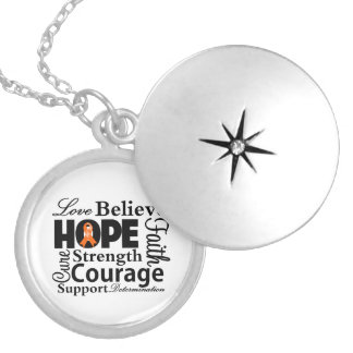 Kidney Cancer Collage of Hope Round Locket Necklace