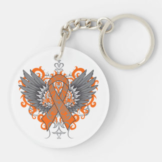 Kidney Cancer Cool Awareness Wings Double-Sided Round Acrylic Key Ring