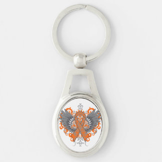 Kidney Cancer Cool Awareness Wings Silver-Colored Oval Metal Keychain