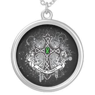 Kidney Cancer - Faith Family Prayer Cross Round Pendant Necklace
