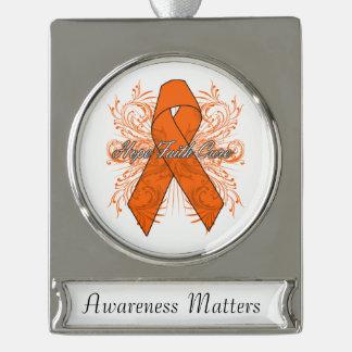 Kidney Cancer Flourish Hope Faith Cure Silver Plated Banner Ornament