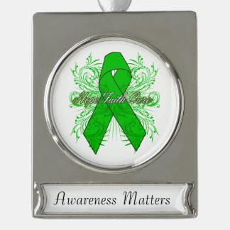 Kidney Cancer Flourish Hope Faith Cure v2 Silver Plated Banner Ornament