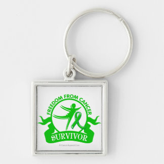 Kidney Cancer - Freedom From Cancer Survivor Silver-Colored Square Key Ring