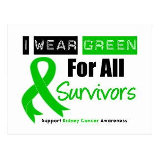 Kidney Cancer Green Ribbon For All Survivors Postcard