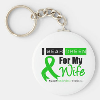 Kidney Cancer Green Ribbon For My Wife Basic Round Button Key Ring