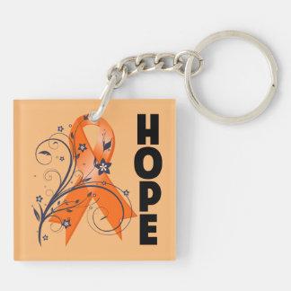 Kidney Cancer Hope Awareness Ribbon Double-Sided Square Acrylic Key Ring