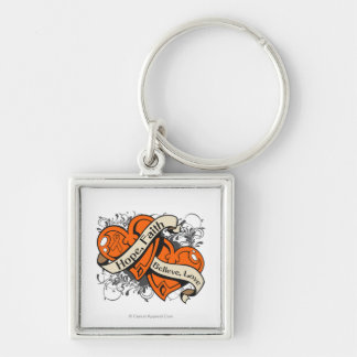 Kidney Cancer Hope Faith Dual Hearts Silver-Colored Square Key Ring