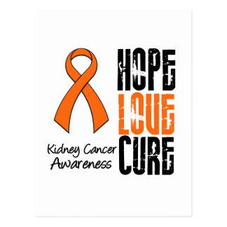 Kidney Cancer Hope Love Cure Ribbon Postcard