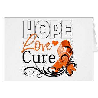 Kidney Cancer Hope Love Cure v2 Greeting Card