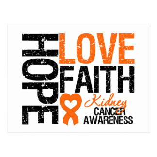 Kidney Cancer Hope Love Faith Postcard