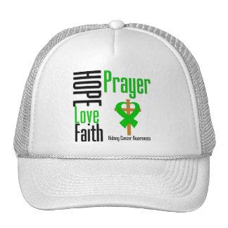 Kidney Cancer Hope Love Faith Prayer CROSS green Mesh Hats