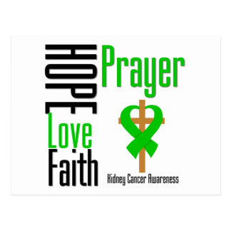 Kidney Cancer Hope Love Faith Prayer CROSS green Postcard