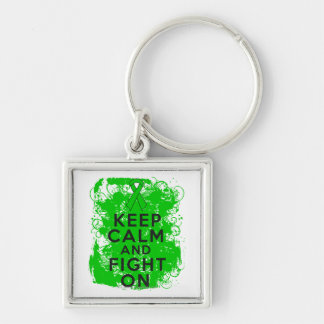 Kidney Cancer Keep Calm and Fight On Silver-Colored Square Key Ring