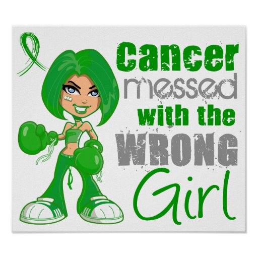 Kidney Cancer Messed With Wrong Girl Green.png Print
