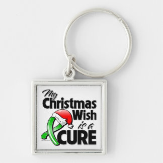 Kidney Cancer My Christmas Wish is a Cure Silver-Colored Square Key Ring