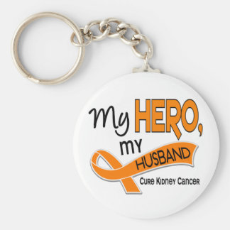 Kidney Cancer MY HERO MY HUSBAND 42 Basic Round Button Key Ring