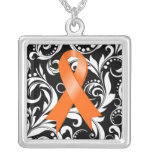 Kidney Cancer Ribbon Deco Floral Noir