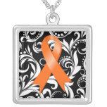 Kidney Cancer Ribbon Deco Floral Noir
