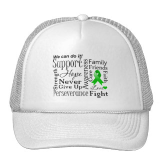 Kidney Cancer Supportive Words (Green) Mesh Hats