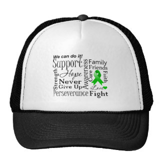 Kidney Cancer Supportive Words (Green) Trucker Hats