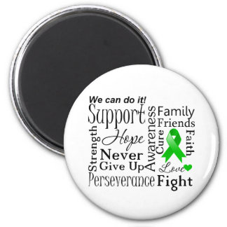 Kidney Cancer Supportive Words Green Refrigerator Magnets