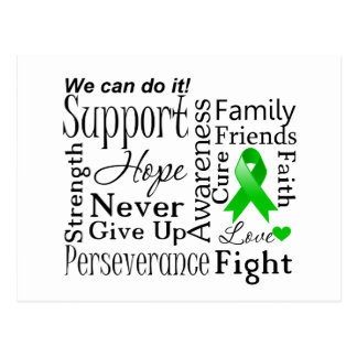 Kidney Cancer Supportive Words Green Post Cards