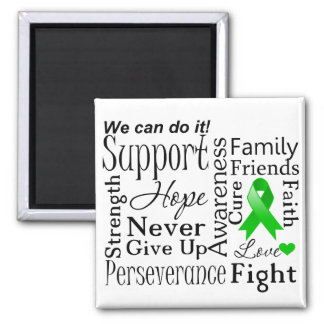 Kidney Cancer Supportive Words (Green) Square Magnet