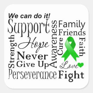 Kidney Cancer Supportive Words (Green) Sticker