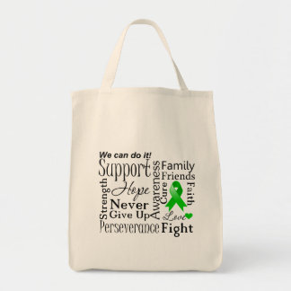 Kidney Cancer Supportive Words (Green) Grocery Tote Bag