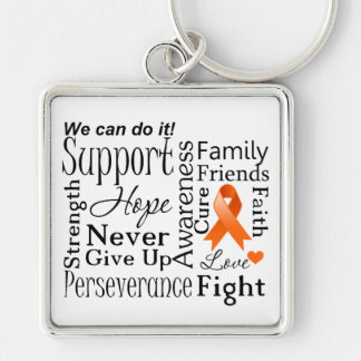 Kidney Cancer Supportive Words Silver-Colored Square Key Ring