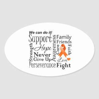Kidney Cancer Supportive Words Oval Sticker