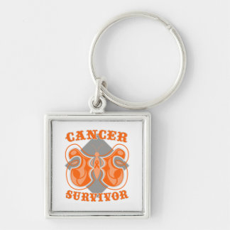 Kidney Cancer Survivor Butterfly v2 Silver-Colored Square Key Ring