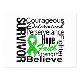 Kidney Cancer Survivor Collage Green Postcard