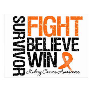 Kidney Cancer Survivor Fight Believe Win Motto 2 Postcard