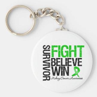 Kidney Cancer Survivor Fight Believe Win Motto Basic Round Button Key Ring