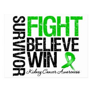 Kidney Cancer Survivor Fight Believe Win Motto Postcard