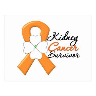 Kidney Cancer Survivor Flower Orange Ribbon Postcard
