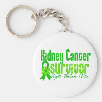 Kidney Cancer Survivor Flower Ribbon Basic Round Button Key Ring